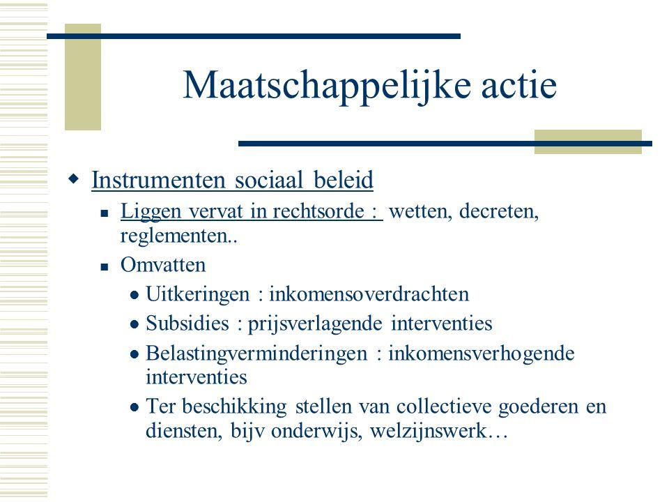 Maatschappelijke actie  Instrumenten sociaal beleid Liggen vervat in rechtsorde : wetten, decreten, reglementen.. Omvatten Uitkeringen : inkomensover