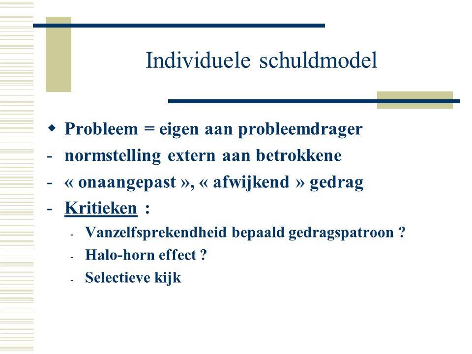 Individuele schuldmodel  Probleem = eigen aan probleemdrager -normstelling extern aan betrokkene -« onaangepast », « afwijkend » gedrag -Kritieken :