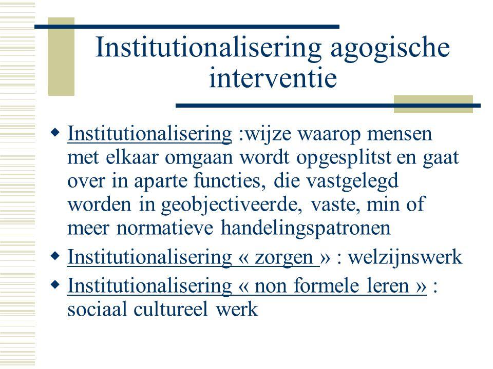 Institutionalisering agogische interventie  Institutionalisering :wijze waarop mensen met elkaar omgaan wordt opgesplitst en gaat over in aparte func