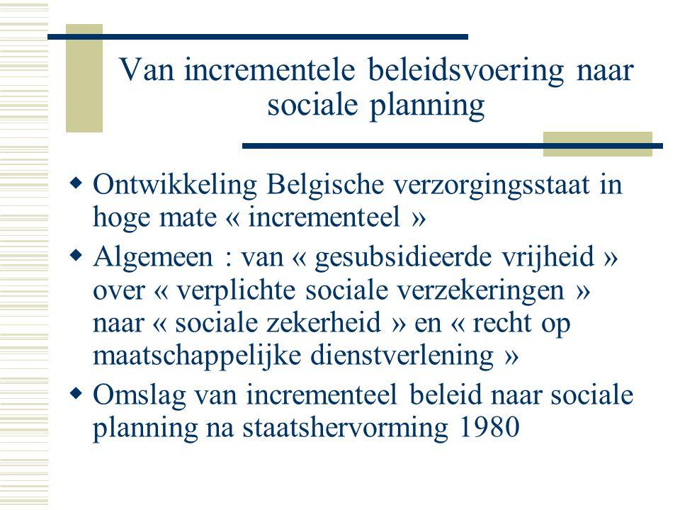 Van incrementele beleidsvoering naar sociale planning  Ontwikkeling Belgische verzorgingsstaat in hoge mate « incrementeel »  Algemeen : van « gesub