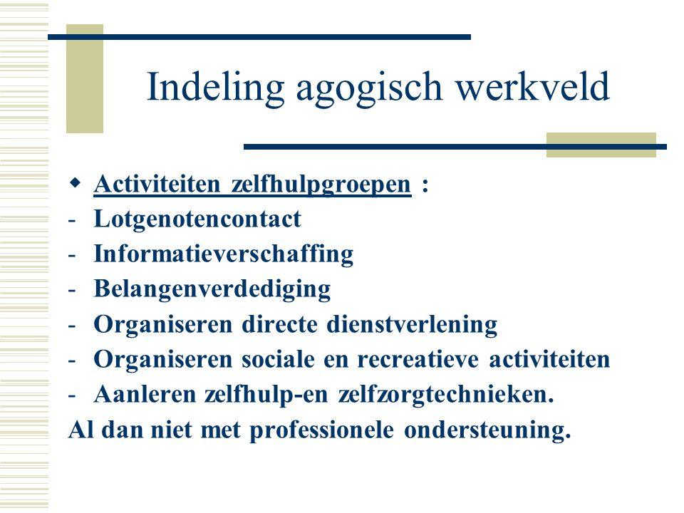 Indeling agogisch werkveld  Activiteiten zelfhulpgroepen : -Lotgenotencontact -Informatieverschaffing -Belangenverdediging -Organiseren directe diens