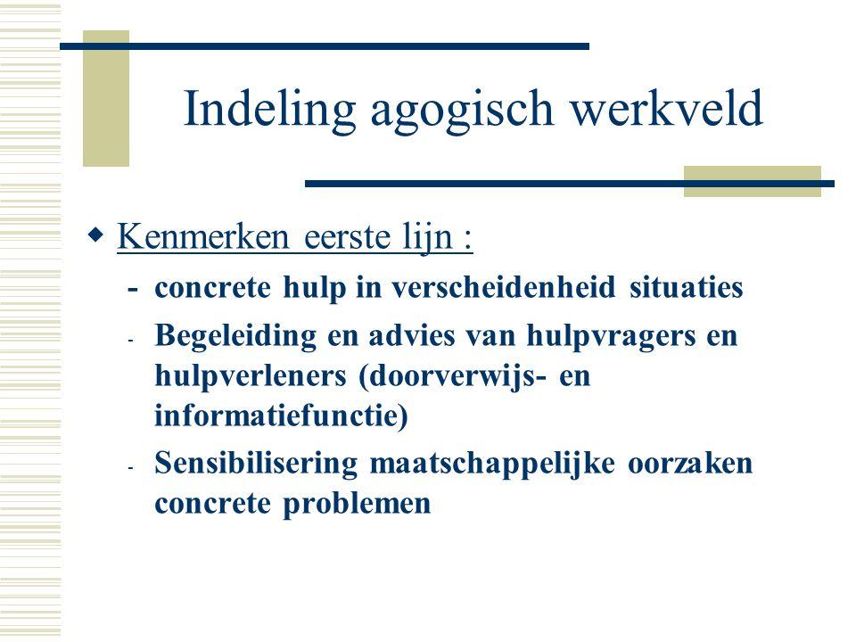 Indeling agogisch werkveld  Kenmerken eerste lijn : -concrete hulp in verscheidenheid situaties - Begeleiding en advies van hulpvragers en hulpverlen