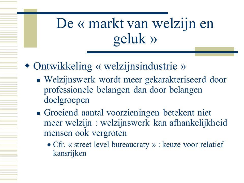 De « markt van welzijn en geluk »  Ontwikkeling « welzijnsindustrie » Welzijnswerk wordt meer gekarakteriseerd door professionele belangen dan door b
