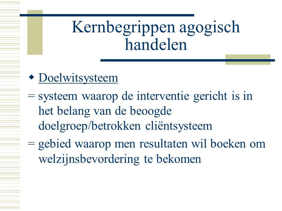 Kernbegrippen agogisch handelen  Doelwitsysteem = systeem waarop de interventie gericht is in het belang van de beoogde doelgroep/betrokken cliëntsys