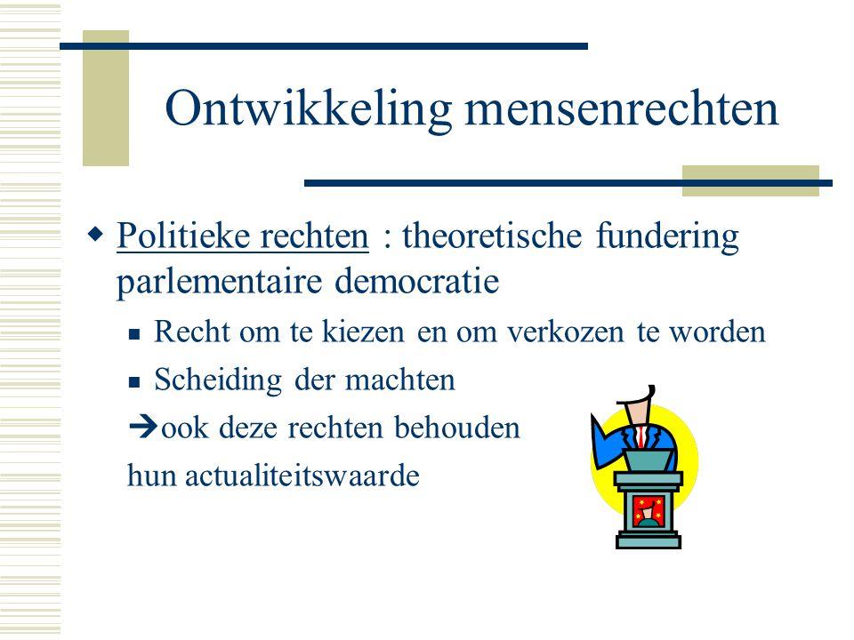 Ontwikkeling mensenrechten  Politieke rechten : theoretische fundering parlementaire democratie Recht om te kiezen en om verkozen te worden Scheiding