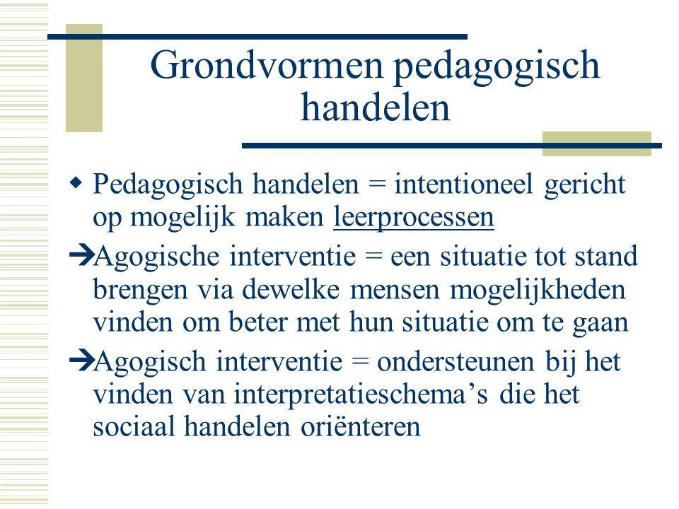Grondvormen pedagogisch handelen  Pedagogisch handelen = intentioneel gericht op mogelijk maken leerprocessen  Agogische interventie = een situatie