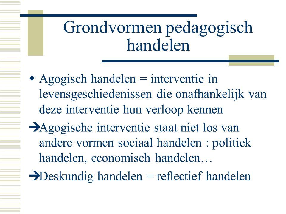 Grondvormen pedagogisch handelen  Agogisch handelen = interventie in levensgeschiedenissen die onafhankelijk van deze interventie hun verloop kennen