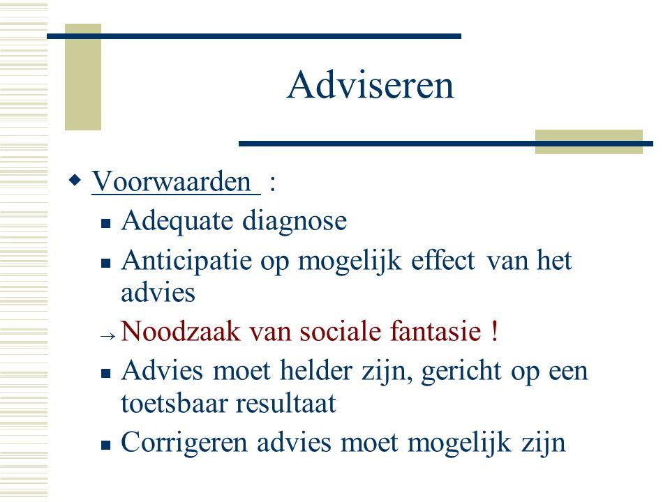Adviseren  Voorwaarden : Adequate diagnose Anticipatie op mogelijk effect van het advies  Noodzaak van sociale fantasie ! Advies moet helder zijn, g