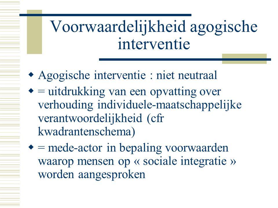Voorwaardelijkheid agogische interventie  Agogische interventie : niet neutraal  = uitdrukking van een opvatting over verhouding individuele-maatsch