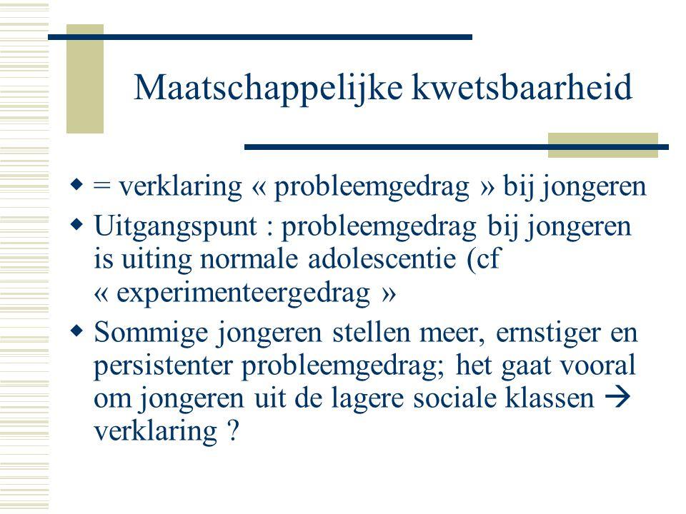Maatschappelijke kwetsbaarheid  = verklaring « probleemgedrag » bij jongeren  Uitgangspunt : probleemgedrag bij jongeren is uiting normale adolescen