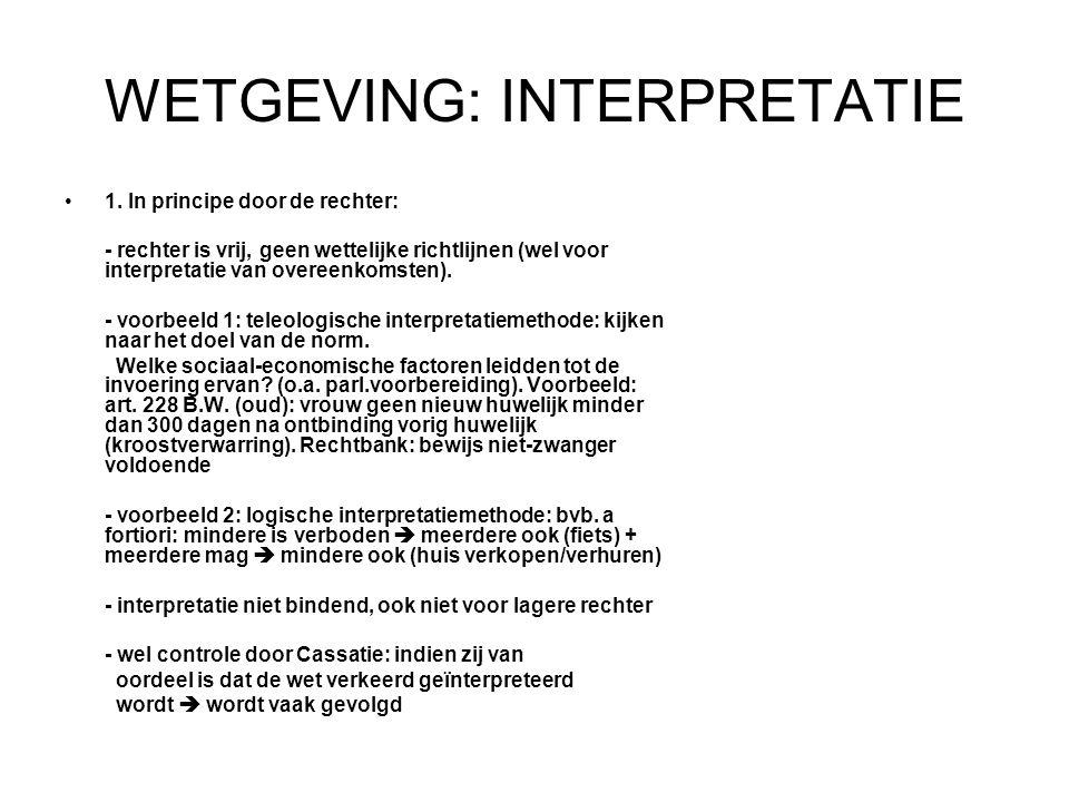 WETGEVING: INTERPRETATIE 1.