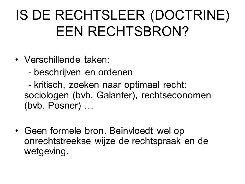 IS DE RECHTSLEER (DOCTRINE) EEN RECHTSBRON.