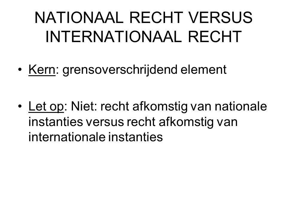 NATIONAAL RECHT VERSUS INTERNATIONAAL RECHT Kern: grensoverschrijdend element Let op: Niet: recht afkomstig van nationale instanties versus recht afkomstig van internationale instanties
