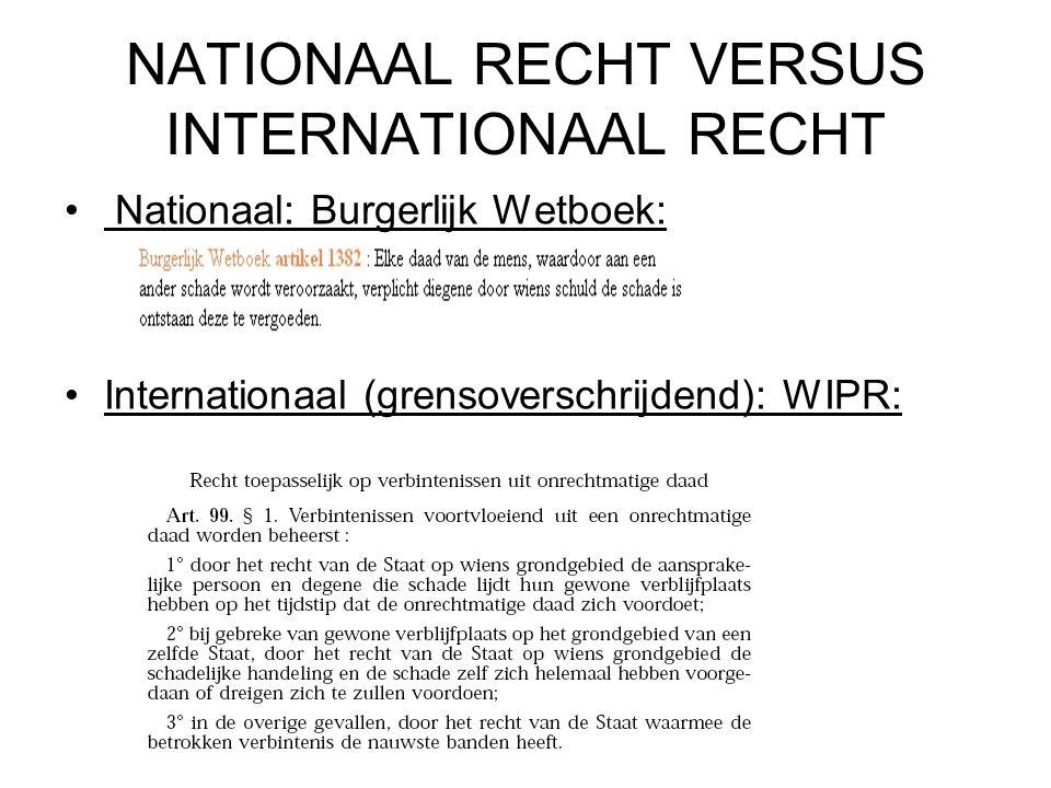 NATIONAAL RECHT VERSUS INTERNATIONAAL RECHT Nationaal: Burgerlijk Wetboek: Internationaal (grensoverschrijdend): WIPR: