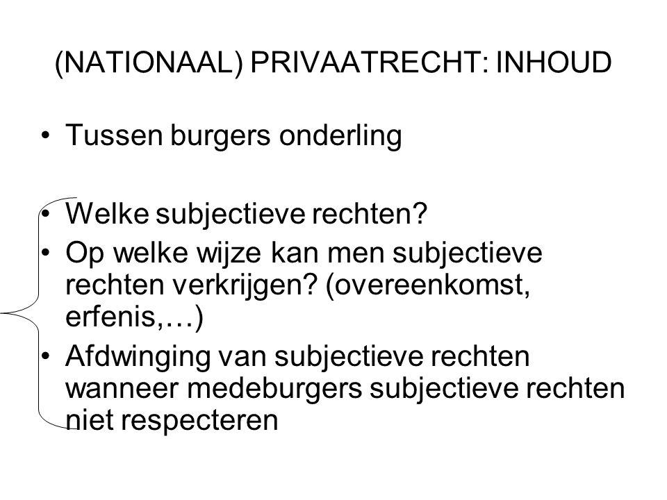 (NATIONAAL) PRIVAATRECHT: INHOUD Tussen burgers onderling Welke subjectieve rechten.