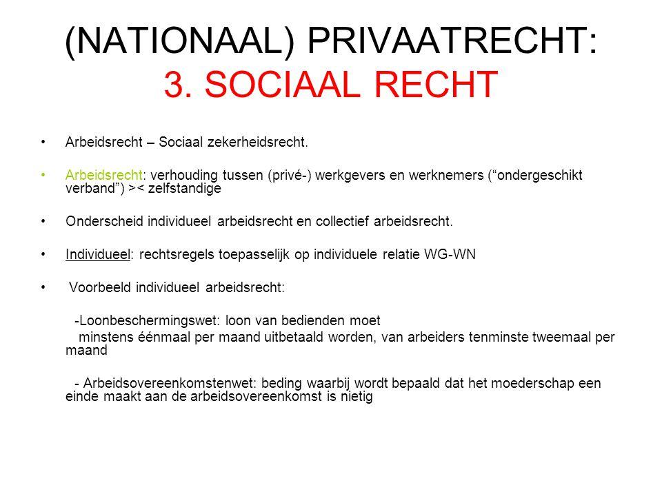 (NATIONAAL) PRIVAATRECHT: 3.SOCIAAL RECHT Arbeidsrecht – Sociaal zekerheidsrecht.