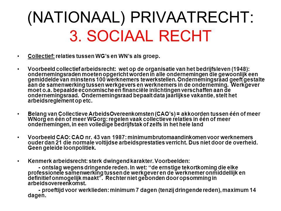 (NATIONAAL) PRIVAATRECHT: 3.SOCIAAL RECHT Collectief: relaties tussen WG's en WN's als groep.