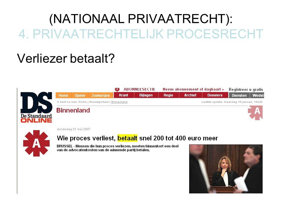(NATIONAAL PRIVAATRECHT): 4. PRIVAATRECHTELIJK PROCESRECHT Verliezer betaalt?