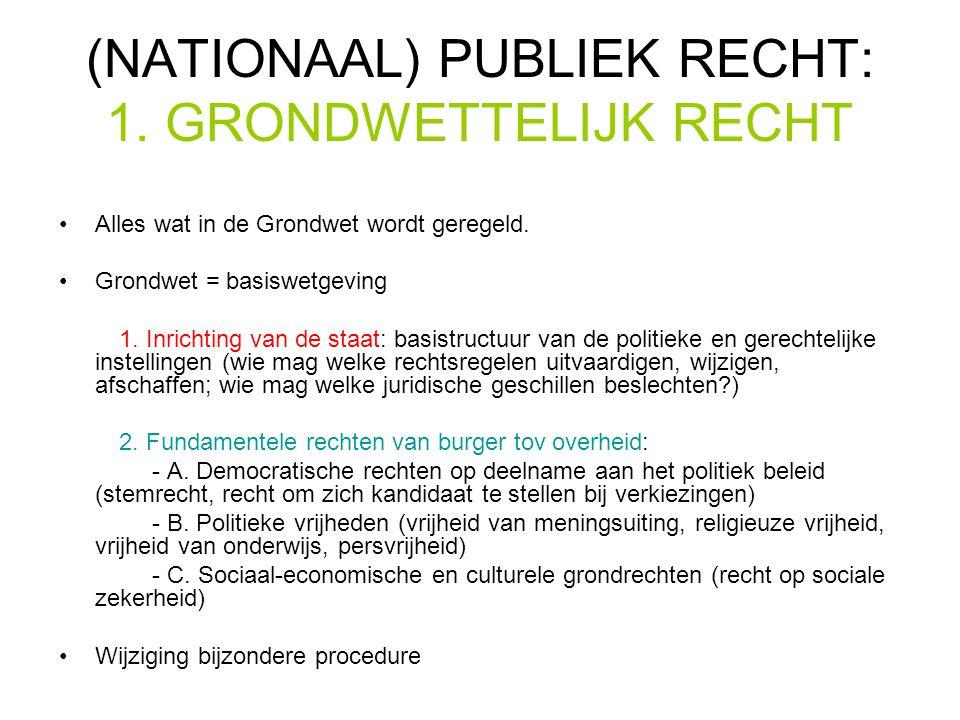 (NATIONAAL) PUBLIEK RECHT: 1.GRONDWETTELIJK RECHT Alles wat in de Grondwet wordt geregeld.