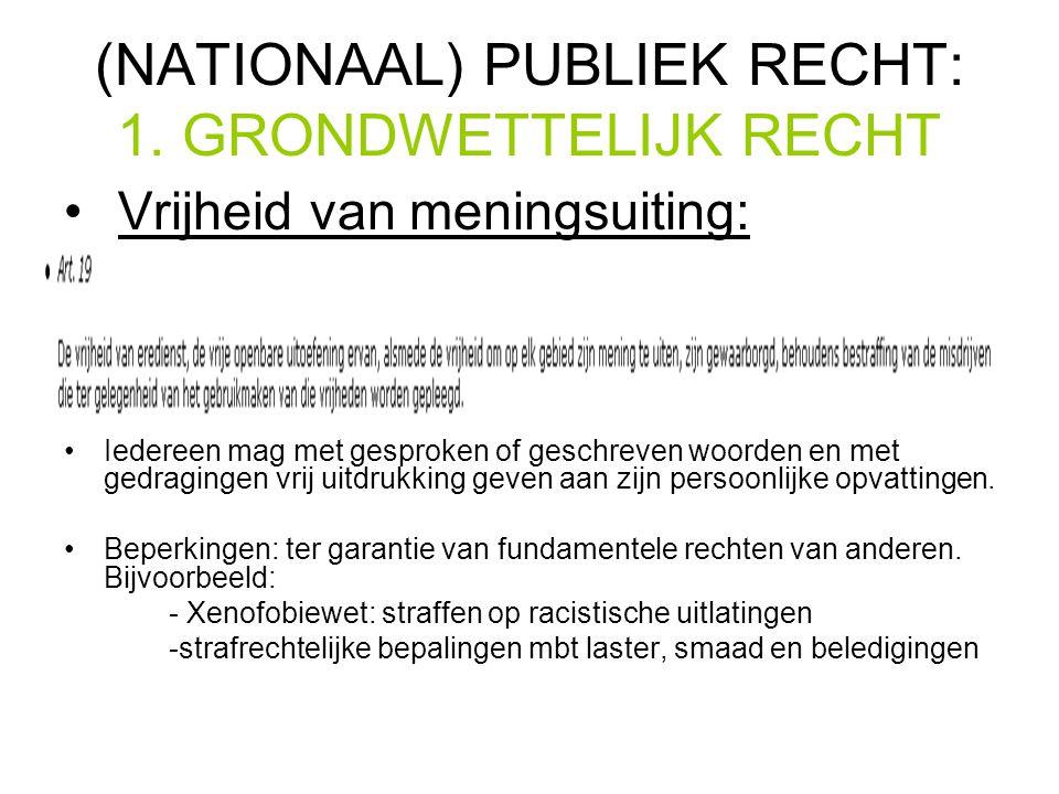 (NATIONAAL) PUBLIEK RECHT: 1.
