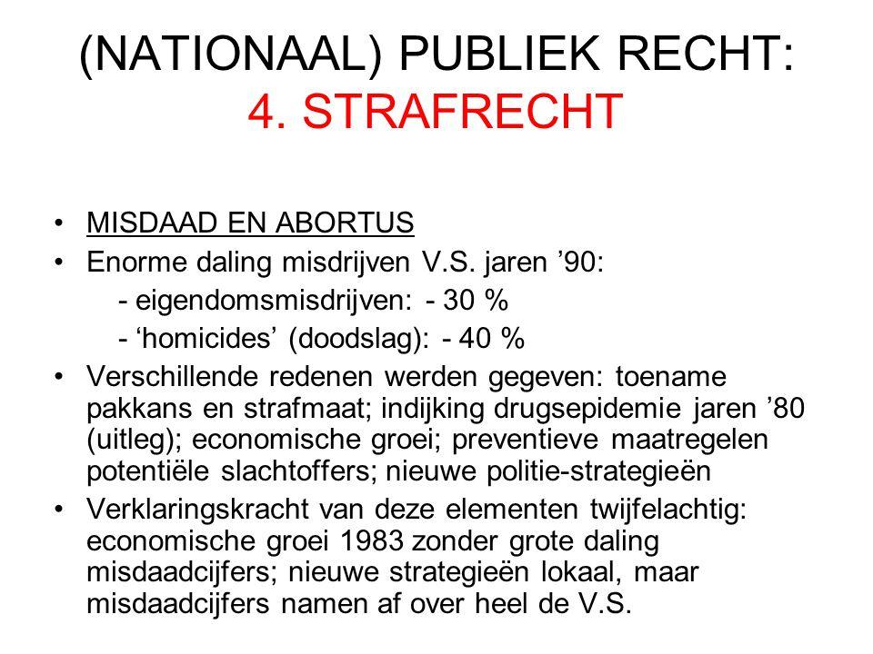 (NATIONAAL) PUBLIEK RECHT: 4.STRAFRECHT MISDAAD EN ABORTUS Enorme daling misdrijven V.S.