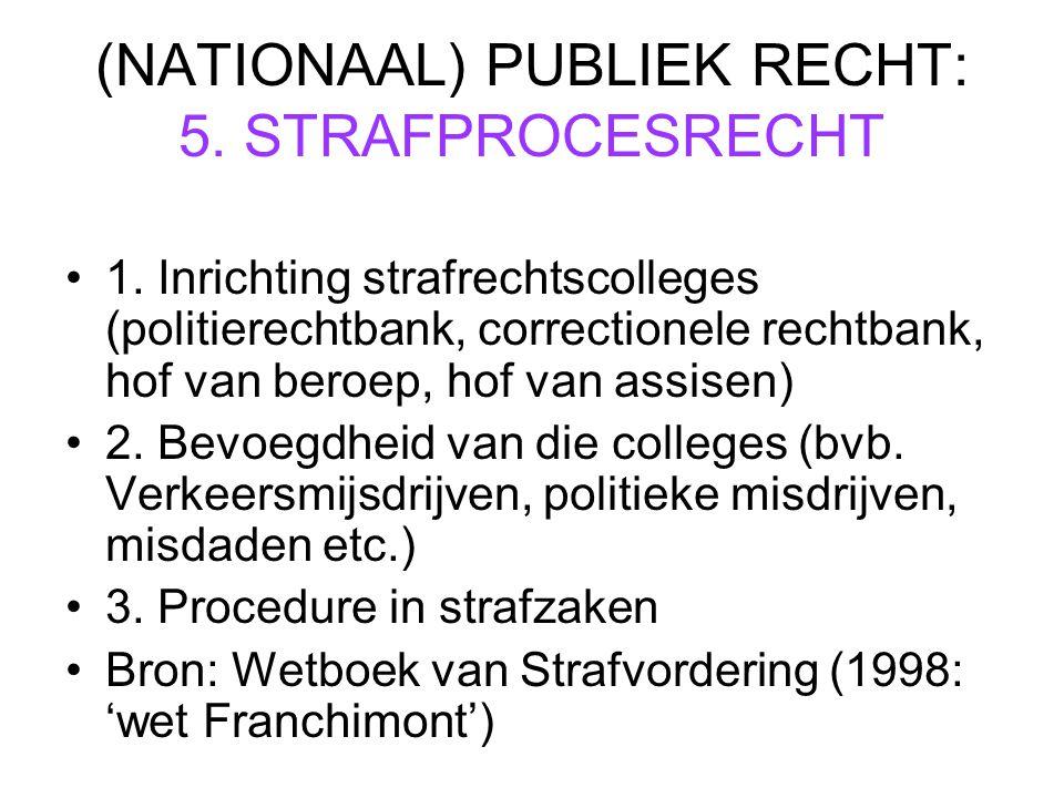 (NATIONAAL) PUBLIEK RECHT: 5.STRAFPROCESRECHT 1.