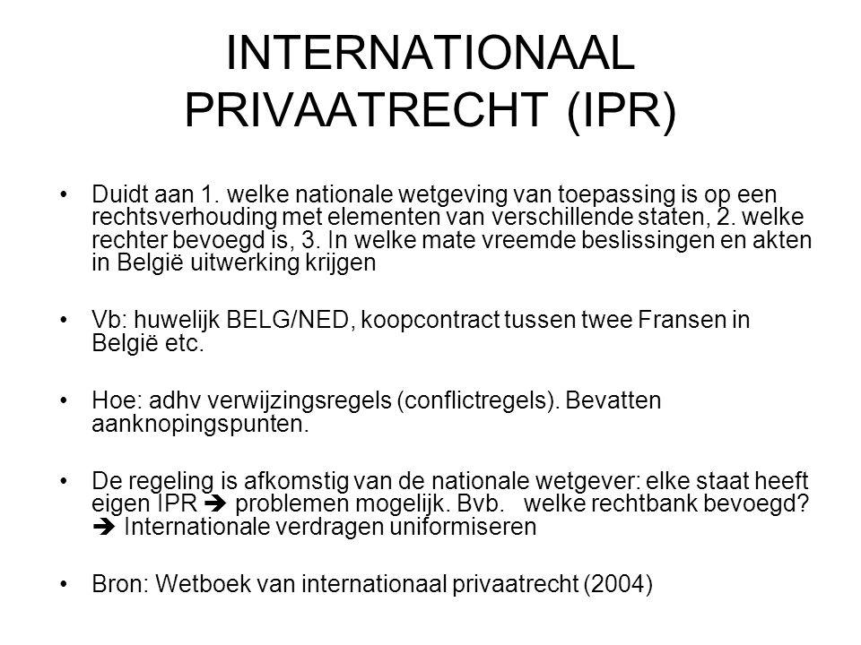 INTERNATIONAAL PRIVAATRECHT (IPR) Duidt aan 1.