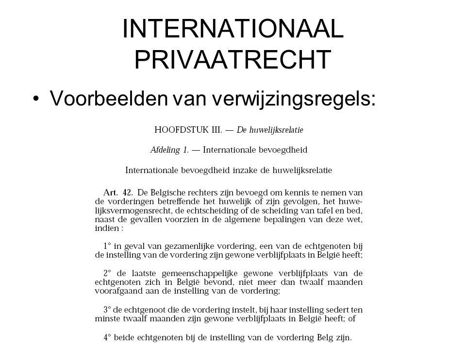 INTERNATIONAAL PRIVAATRECHT Voorbeelden van verwijzingsregels: