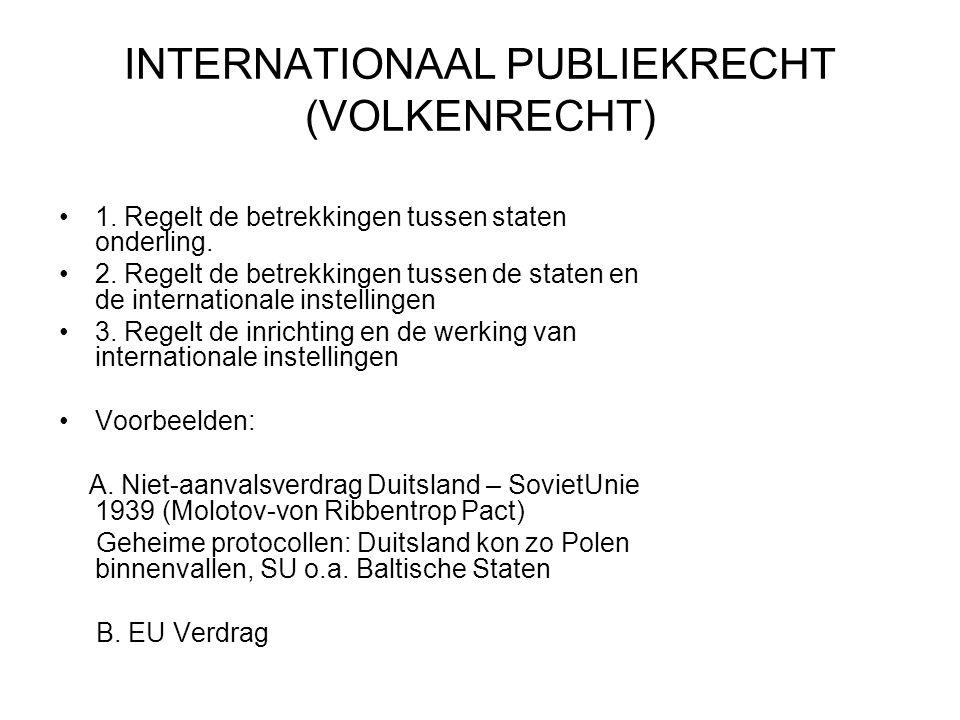 INTERNATIONAAL PUBLIEKRECHT (VOLKENRECHT) 1.Regelt de betrekkingen tussen staten onderling.