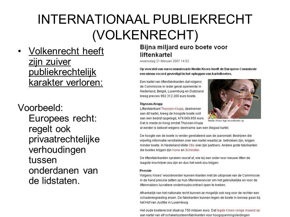 INTERNATIONAAL PUBLIEKRECHT (VOLKENRECHT) Volkenrecht heeft zijn zuiver publiekrechtelijk karakter verloren: Voorbeeld: Europees recht: regelt ook privaatrechtelijke verhoudingen tussen onderdanen van de lidstaten.