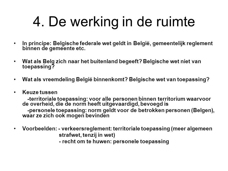 4. De werking in de ruimte In principe: Belgische federale wet geldt in België, gemeentelijk reglement binnen de gemeente etc. Wat als Belg zich naar