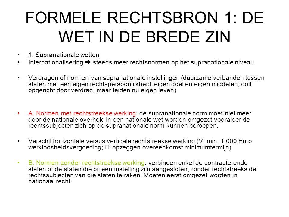 FORMELE RECHTSBRON 1: DE WET IN DE BREDE ZIN 1.