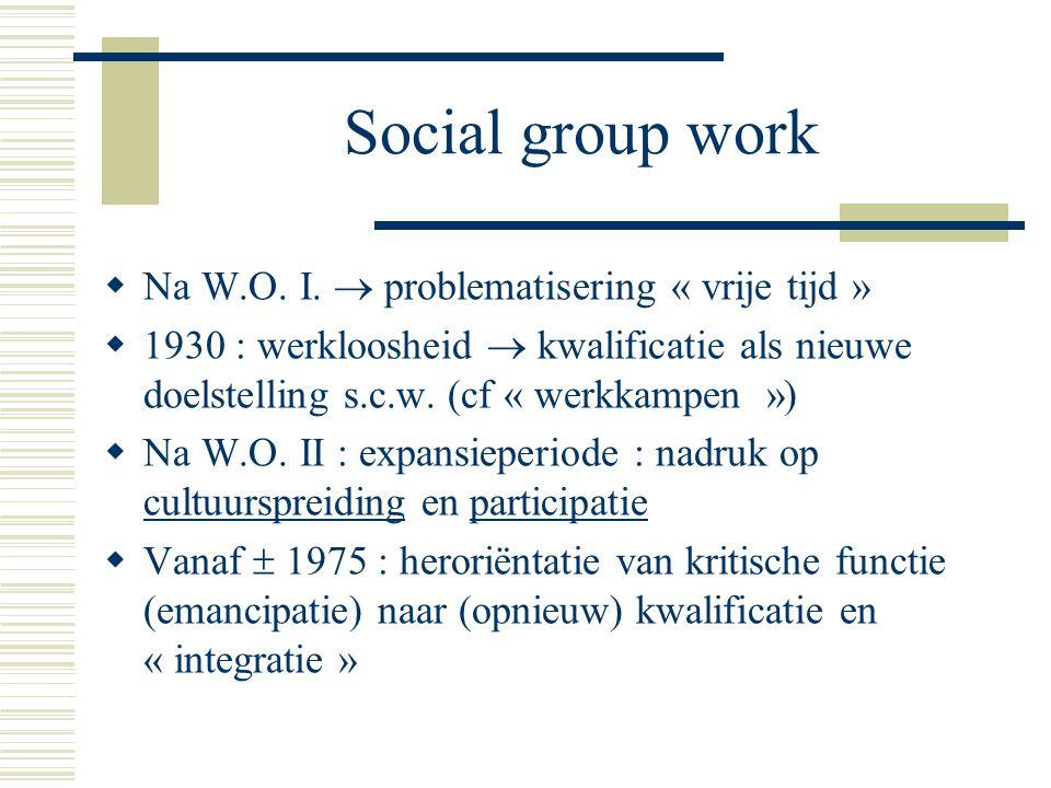 Social group work  Na W.O. I.  problematisering « vrije tijd »  1930 : werkloosheid  kwalificatie als nieuwe doelstelling s.c.w. (cf « werkkampen
