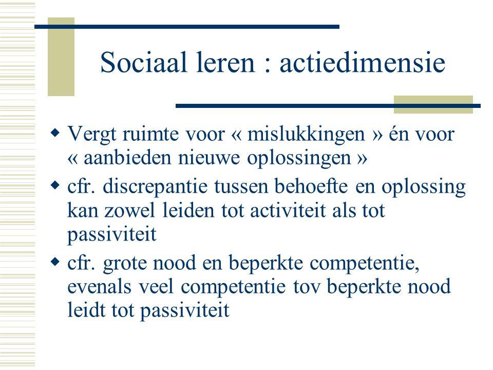 Sociaal leren : actiedimensie  Vergt ruimte voor « mislukkingen » én voor « aanbieden nieuwe oplossingen »  cfr. discrepantie tussen behoefte en opl