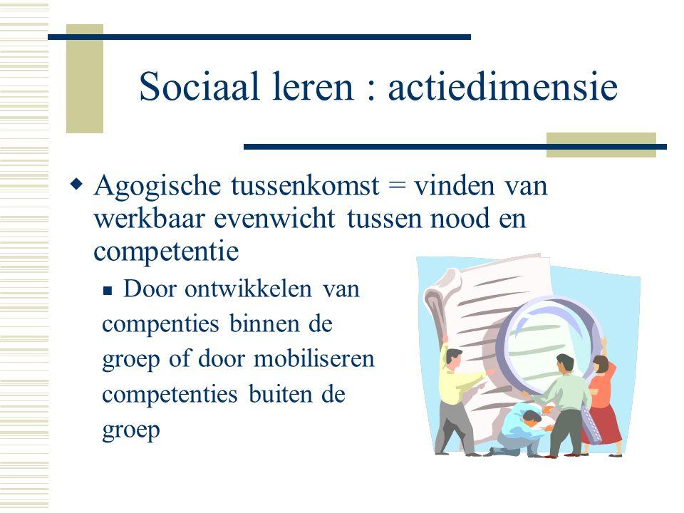 Sociaal leren : actiedimensie  Agogische tussenkomst = vinden van werkbaar evenwicht tussen nood en competentie Door ontwikkelen van compenties binne