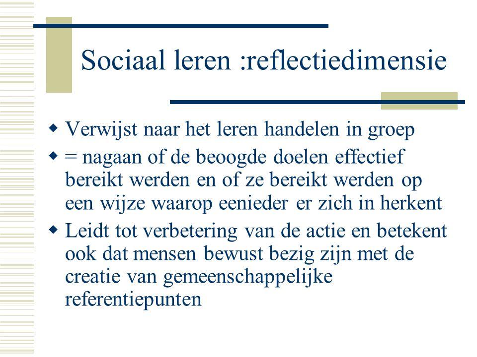 Sociaal leren :reflectiedimensie  Verwijst naar het leren handelen in groep  = nagaan of de beoogde doelen effectief bereikt werden en of ze bereikt