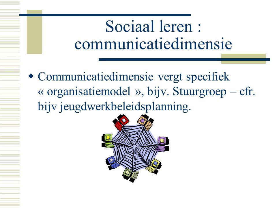 Sociaal leren : communicatiedimensie  Communicatiedimensie vergt specifiek « organisatiemodel », bijv. Stuurgroep – cfr. bijv jeugdwerkbeleidsplannin