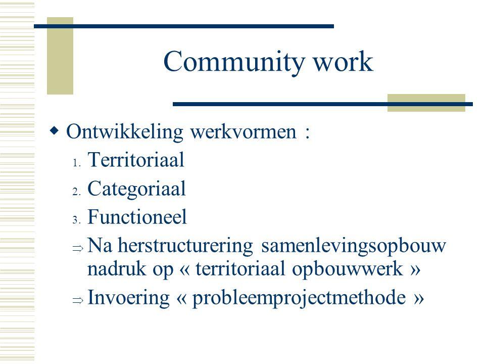 Community work  Ontwikkeling werkvormen : 1. Territoriaal 2. Categoriaal 3. Functioneel  Na herstructurering samenlevingsopbouw nadruk op « territor