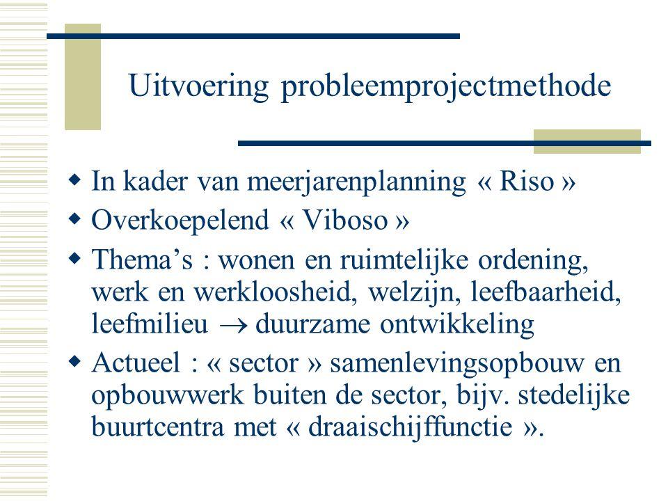 Uitvoering probleemprojectmethode  In kader van meerjarenplanning « Riso »  Overkoepelend « Viboso »  Thema's : wonen en ruimtelijke ordening, werk