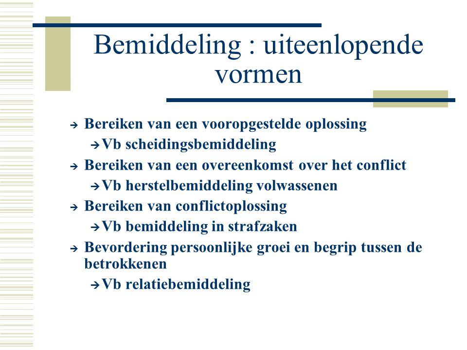 Bemiddeling : uiteenlopende vormen  Bereiken van een vooropgestelde oplossing  Vb scheidingsbemiddeling  Bereiken van een overeenkomst over het con