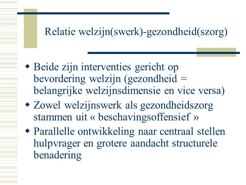 Relatie welzijn(swerk)-gezondheid(szorg)  Beide zijn interventies gericht op bevordering welzijn (gezondheid = belangrijke welzijnsdimensie en vice v