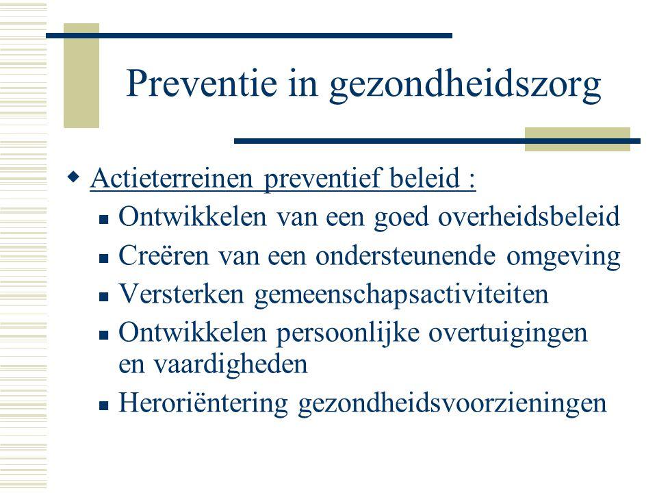 Preventie in gezondheidszorg  Actieterreinen preventief beleid : Ontwikkelen van een goed overheidsbeleid Creëren van een ondersteunende omgeving Ver