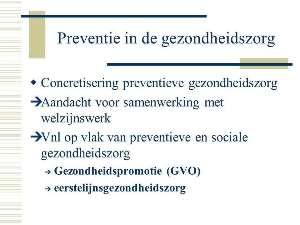 Preventie in de gezondheidszorg  Concretisering preventieve gezondheidszorg  Aandacht voor samenwerking met welzijnswerk  Vnl op vlak van preventie