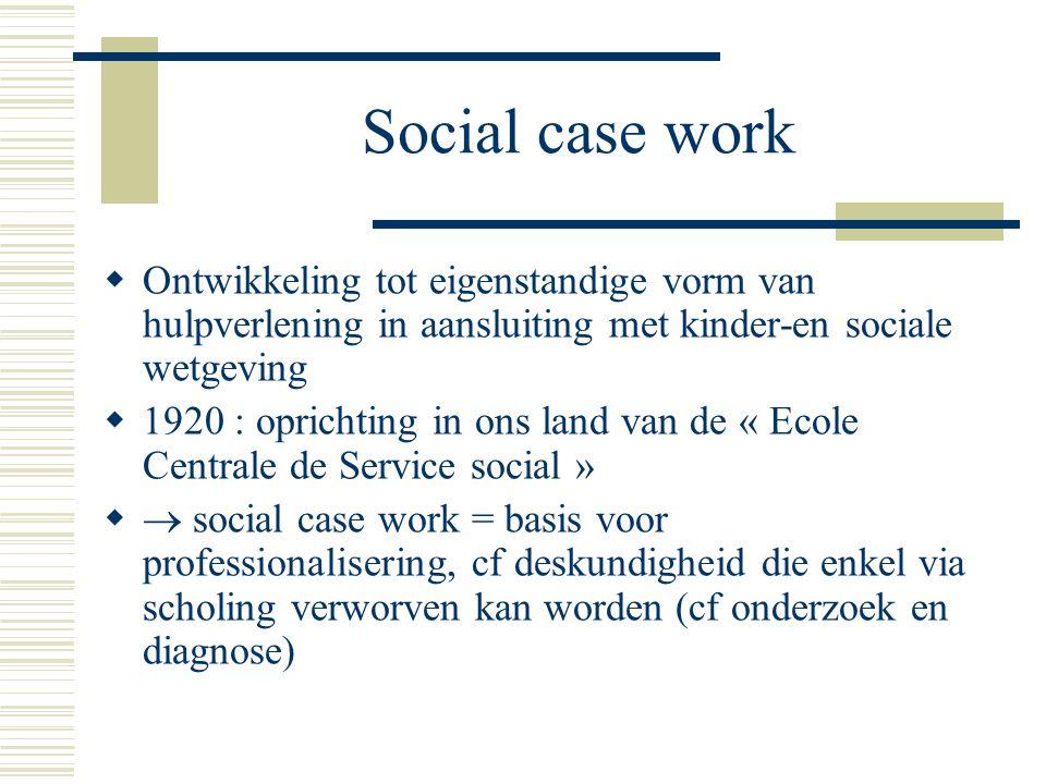 Social case work  Invloed van psycho-analyse  sterkere gerichtheid op persoonsgeschiedenis individuele cliënt  ontwikkeling tot « individueel maatschappelijk werk »  Ontwikkeling opvatting dat materieel aanmeldingsprobleem een aanduiding is van een immaterieel probleem  nadruk op vermogen tot introspectie, verbalisatie en inzicht hulpvrager  onderscheid « gewone » en « moeilijke » cliënt(systemen)  « therapeutisering »