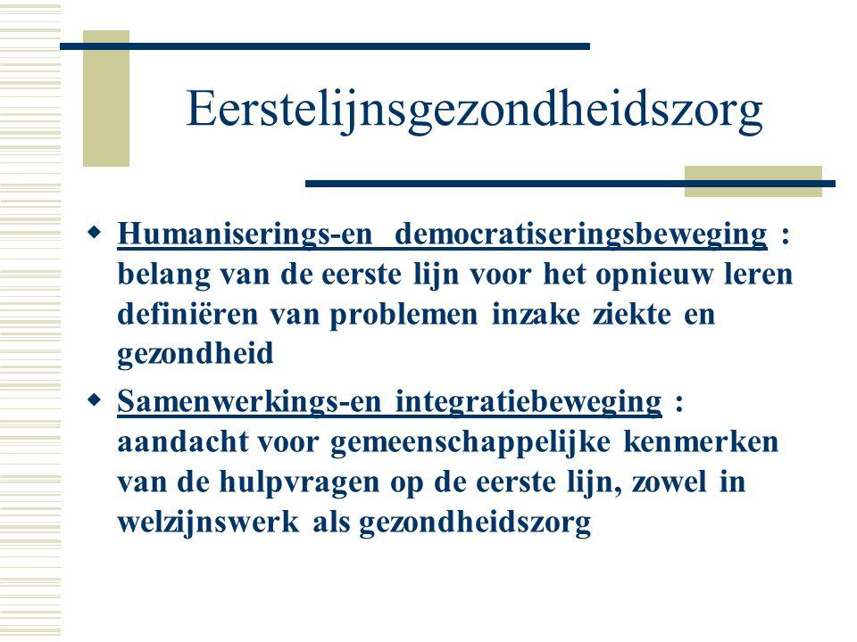Eerstelijnsgezondheidszorg  Humaniserings-en democratiseringsbeweging : belang van de eerste lijn voor het opnieuw leren definiëren van problemen inz