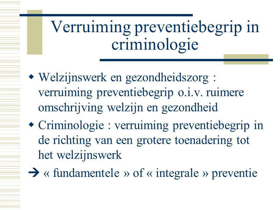 Verruiming preventiebegrip in criminologie  Welzijnswerk en gezondheidszorg : verruiming preventiebegrip o.i.v. ruimere omschrijving welzijn en gezon