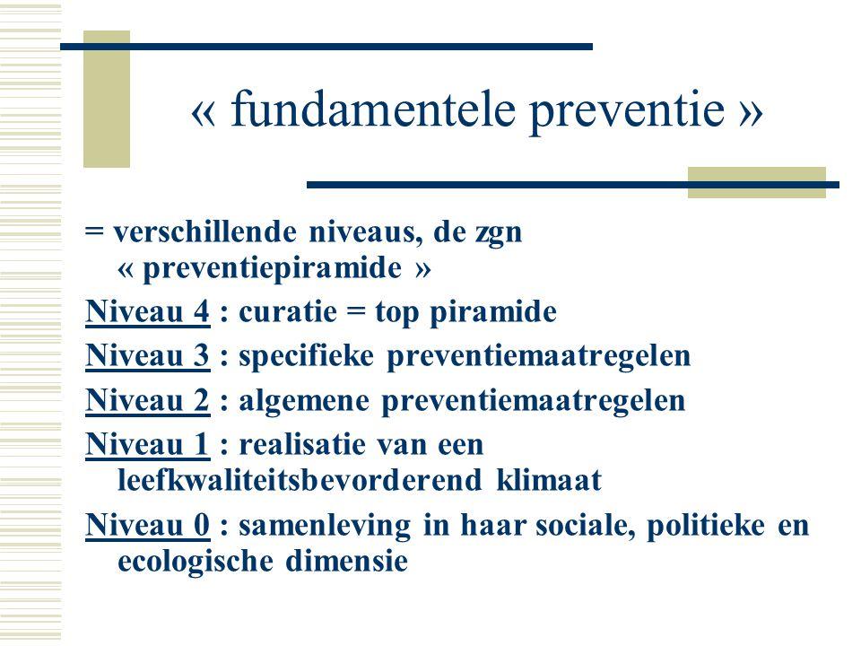 « fundamentele preventie » = verschillende niveaus, de zgn « preventiepiramide » Niveau 4 : curatie = top piramide Niveau 3 : specifieke preventiemaat