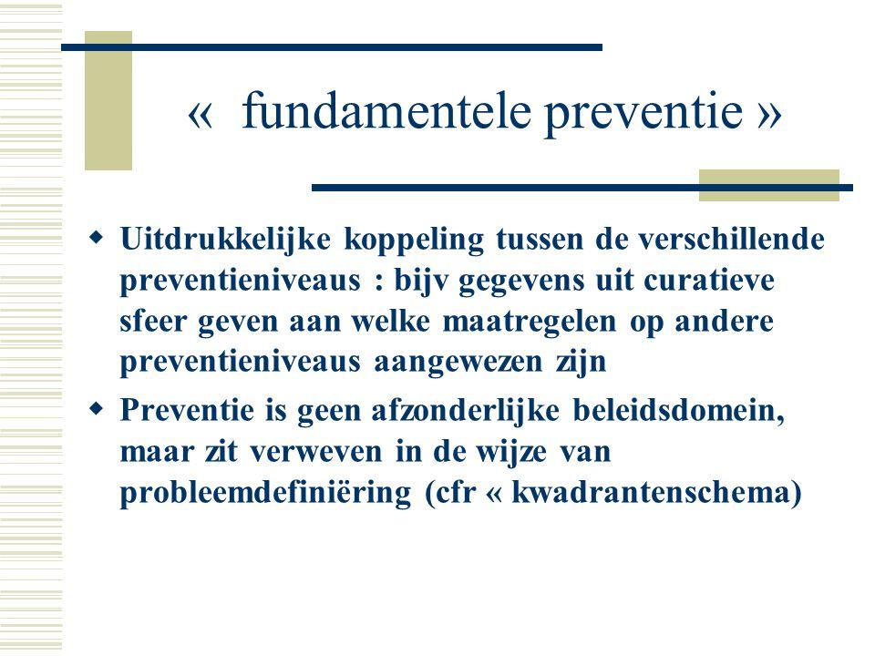 « fundamentele preventie »  Uitdrukkelijke koppeling tussen de verschillende preventieniveaus : bijv gegevens uit curatieve sfeer geven aan welke maa