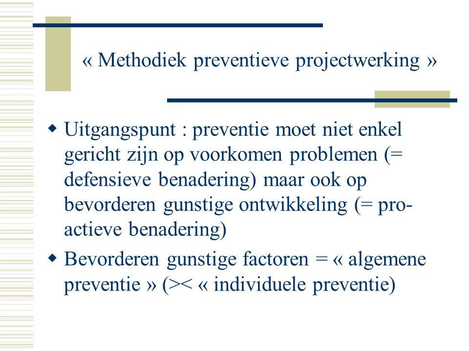 « Methodiek preventieve projectwerking »  Uitgangspunt : preventie moet niet enkel gericht zijn op voorkomen problemen (= defensieve benadering) maar