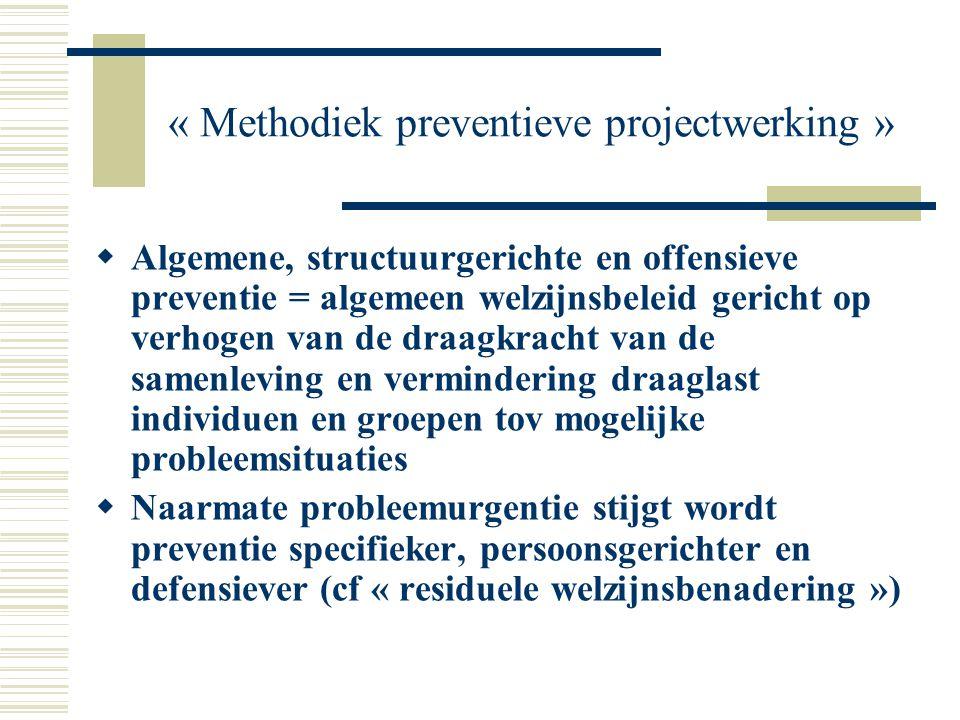 « Methodiek preventieve projectwerking »  Algemene, structuurgerichte en offensieve preventie = algemeen welzijnsbeleid gericht op verhogen van de dr